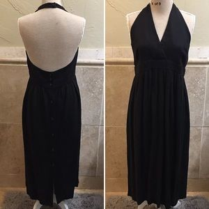 Jenne Maag VTG Black Halter Dress Back Buttons L